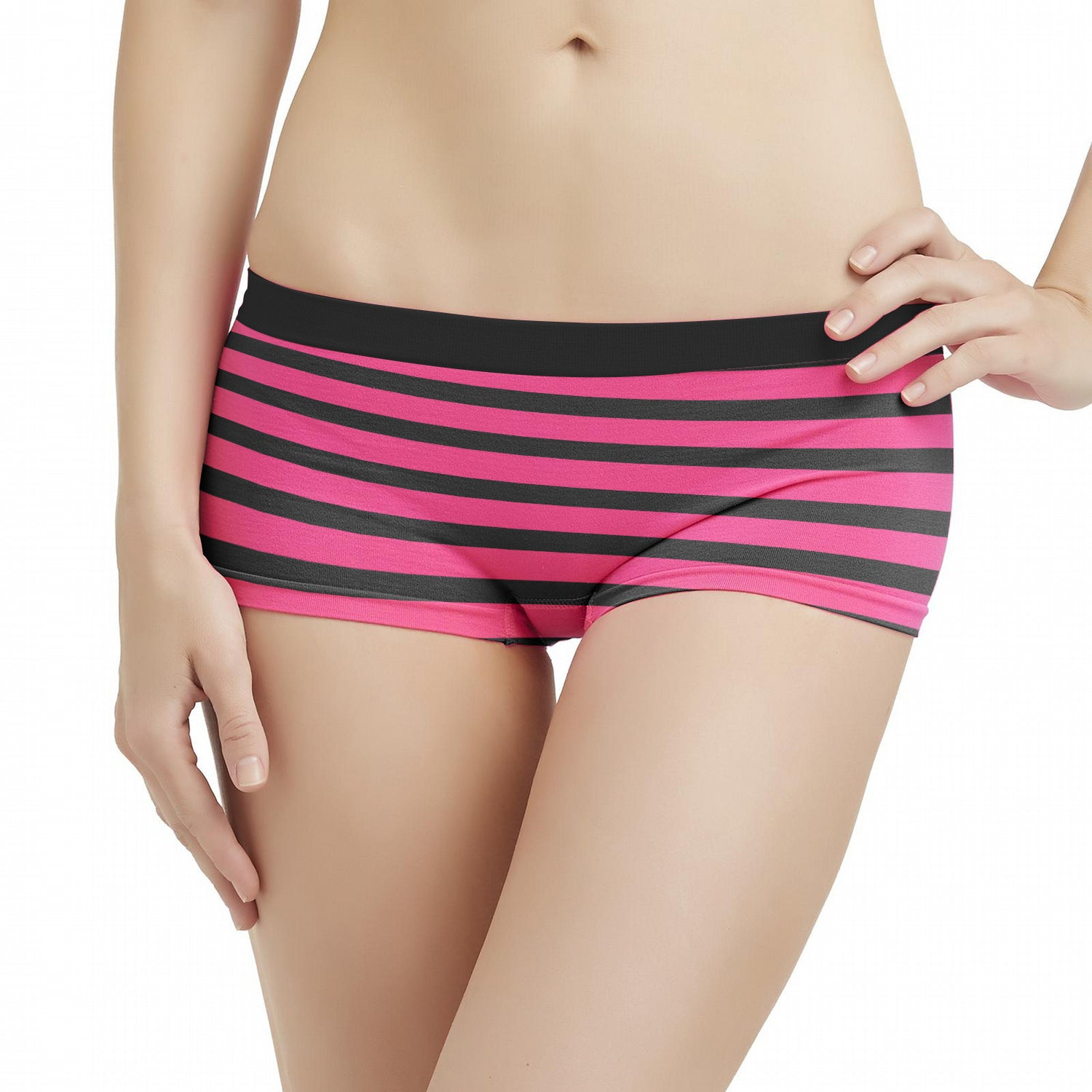Next Cotton Boxer For Girls-Pink with Black Stripe-BE8862