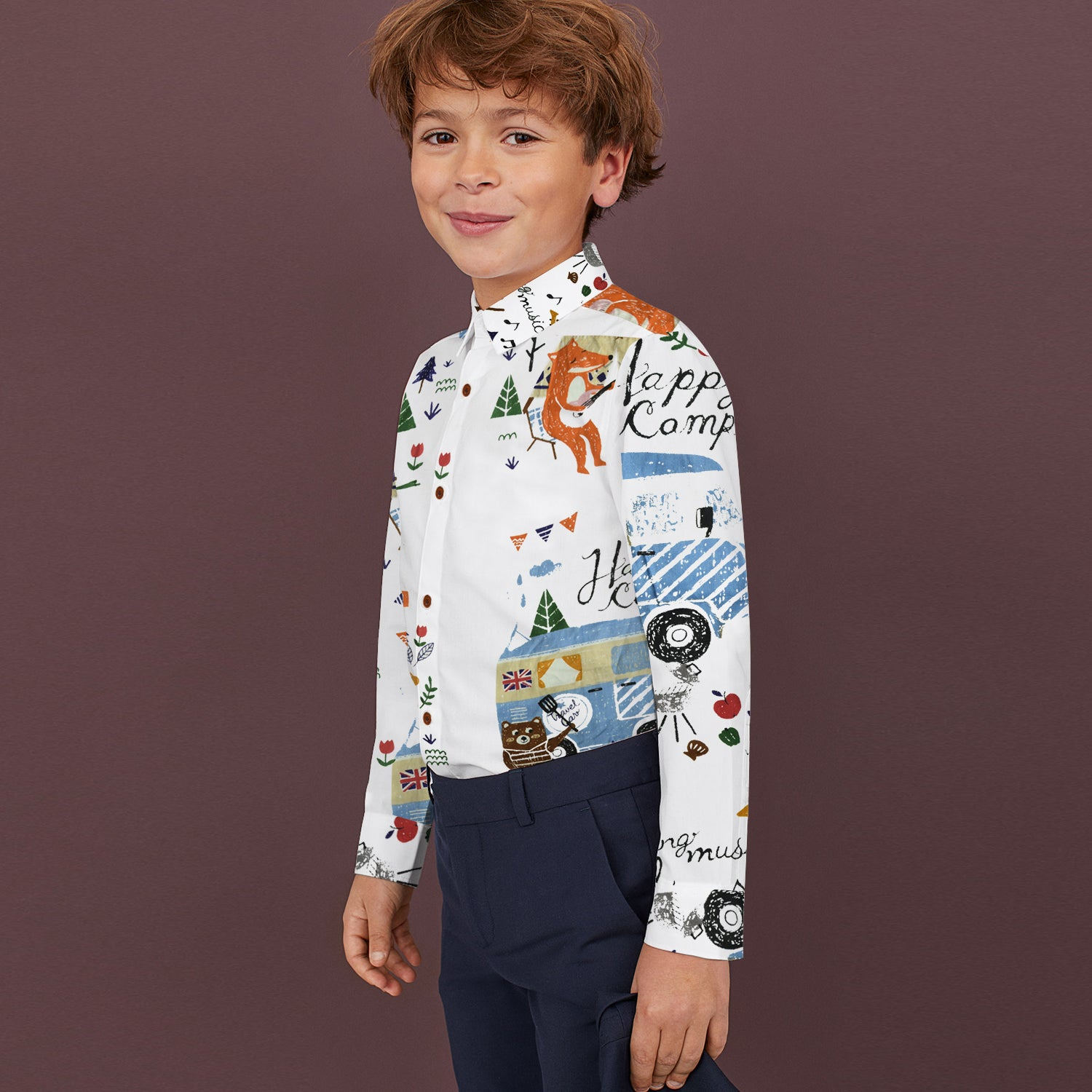 Next Cotton Button Down Casual Shirt For Kids-White with Allover Print-BE10733