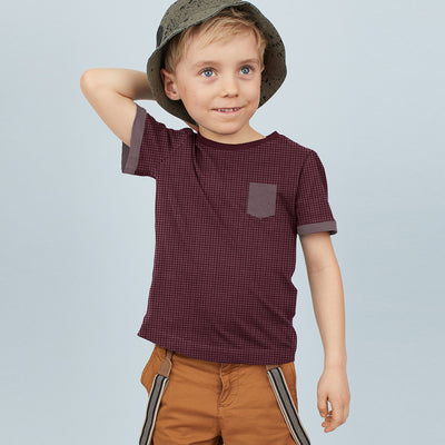brandsego - Next Crew Neck Single Jersey Pocket Style Tee Shirt For Kids-Maroon with Allover Print-BE9038