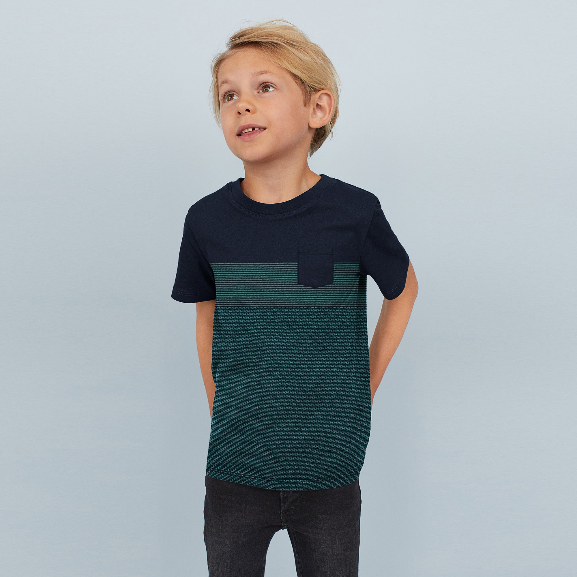 brandsego - Next Crew Neck Single Jersey T Shirt For Kids-Dark Navy with Panels-BE8261