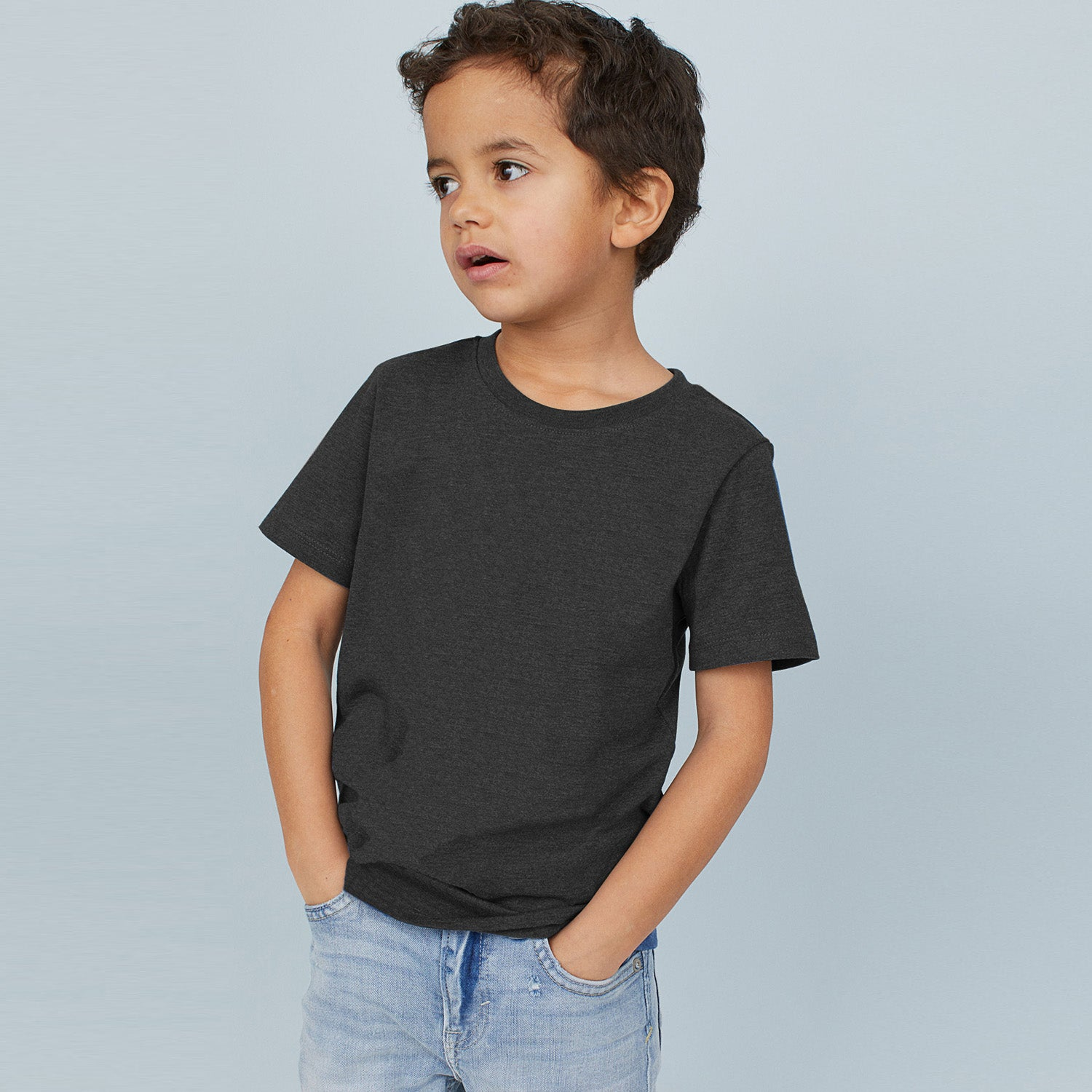 brandsego - Next Crew Neck Single Jersey Tee Shirt For Kids-Charcoal Melange-BE9036