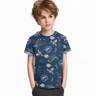 brandsego - Next Crew Neck Single Jersey Tee Shirt For Kids-Navy Melange with Allover Print-BE9034