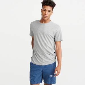 Next Crew Neck Solid T-Shirt For Men-Grey Melange-BE5489