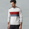 Next Fleece Crew Neck Sweatshirt For Men-Grey Melange with Panels-BE10342