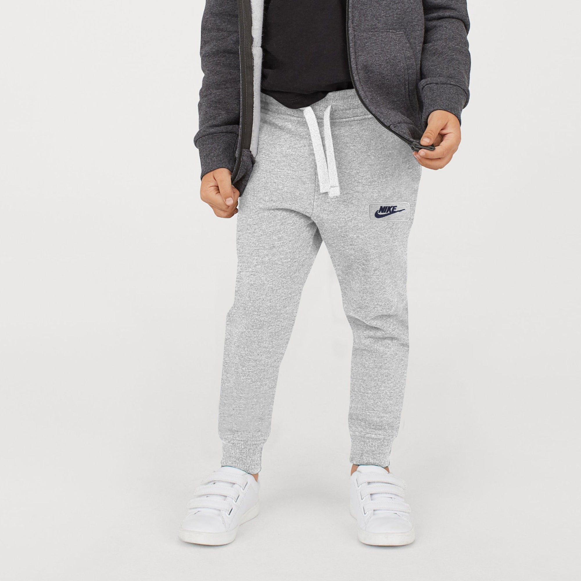 NK Terry Fleece Jogger Trouser For Boys-Grey Melange-SP1063