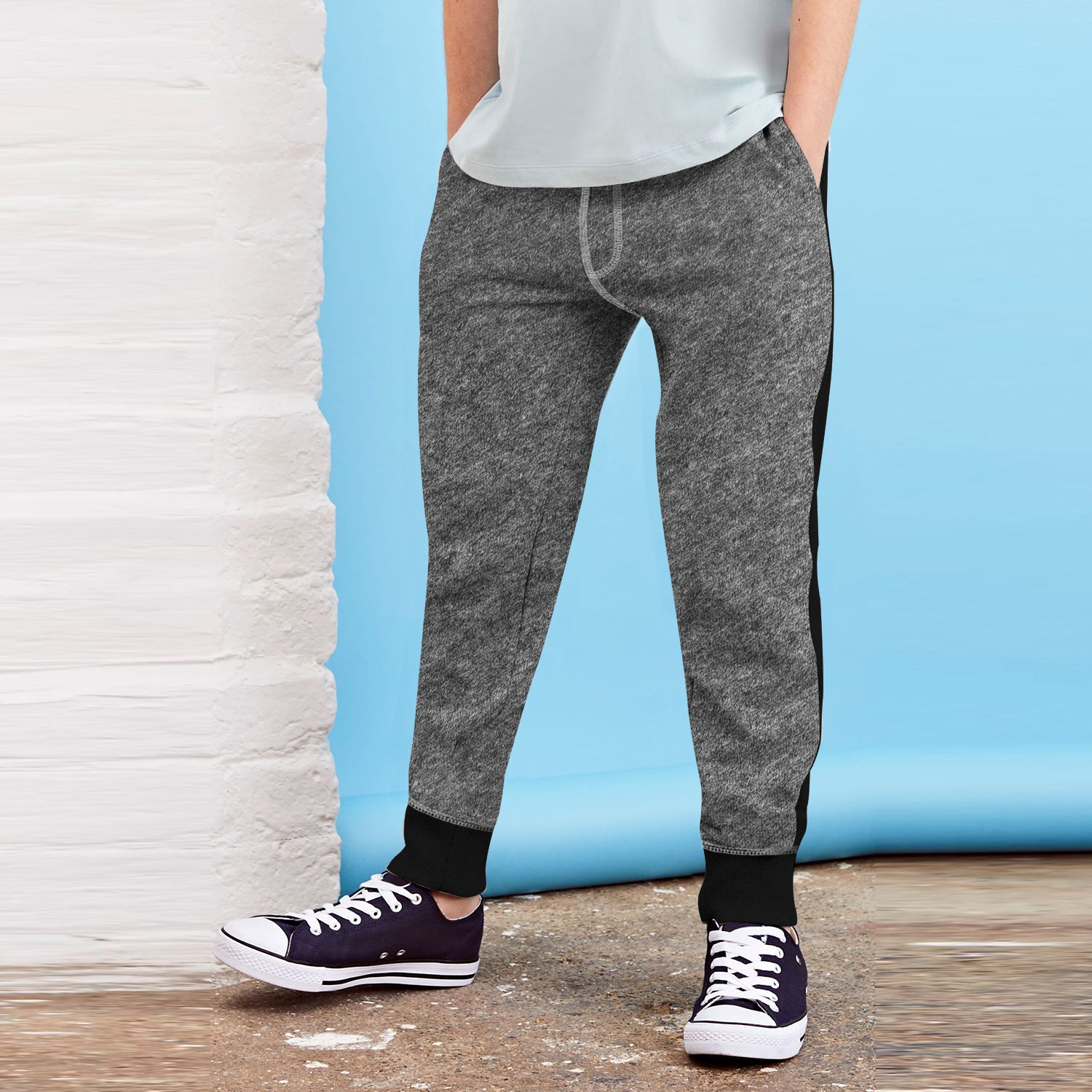 Next Fleece Jogger Trouser For Kids-Light Charcoal Melange & Black Stripe-BE10058