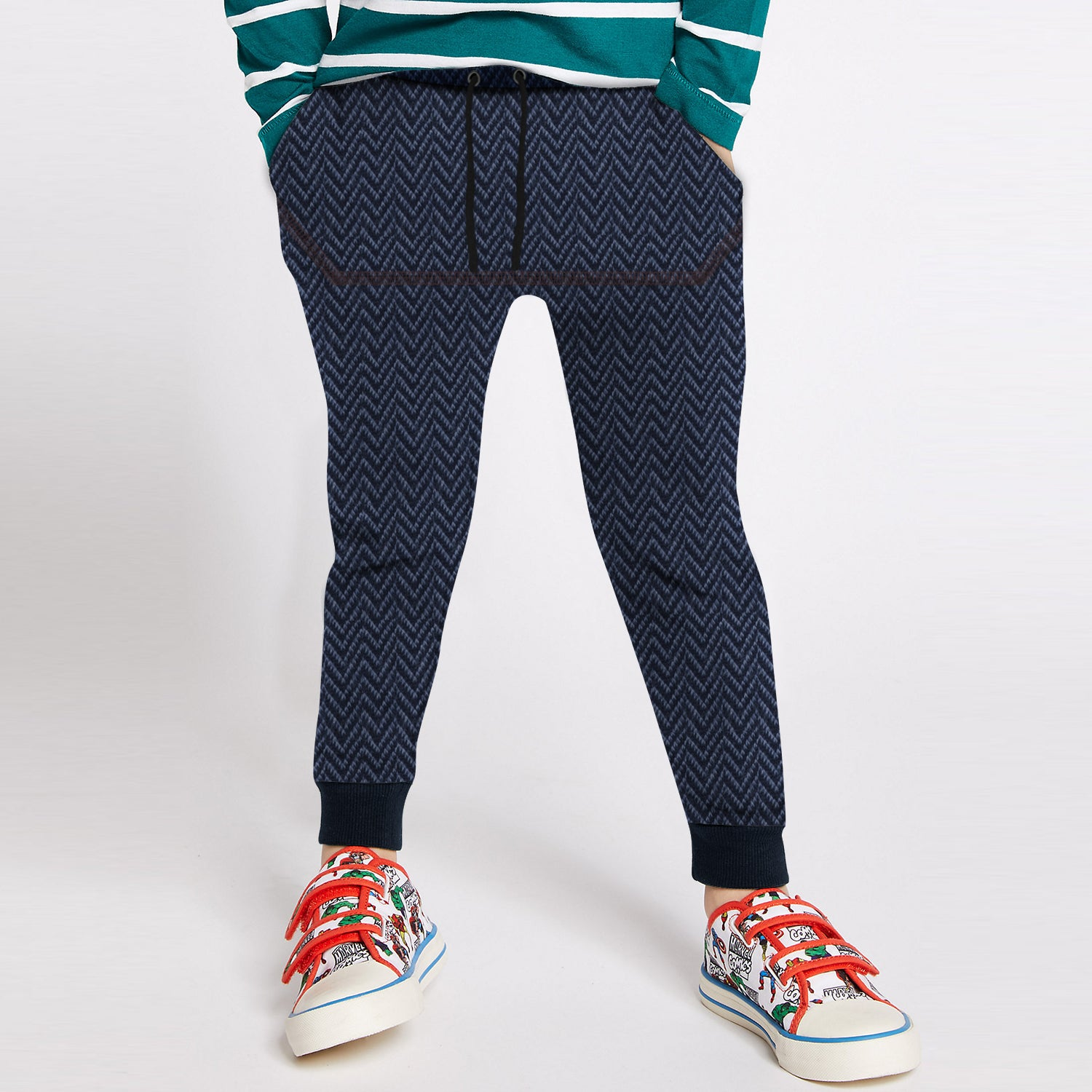 Next Fleece Jogger Trouser For Kids-Navy Melange Zig Zag Stripe-BE10009
