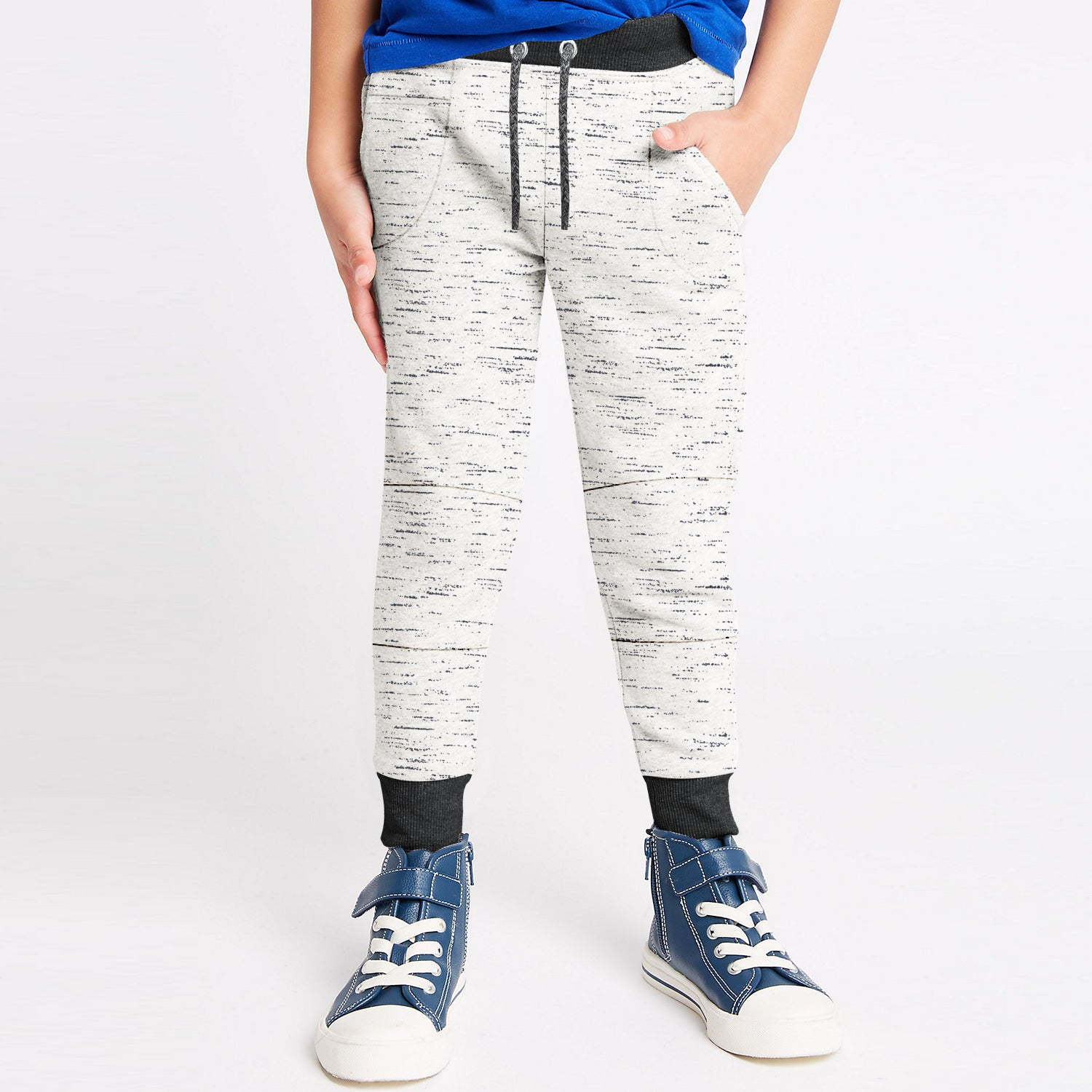Next Fleece Jogger Trouser For Kids-Off White & Black Melange-BE10014