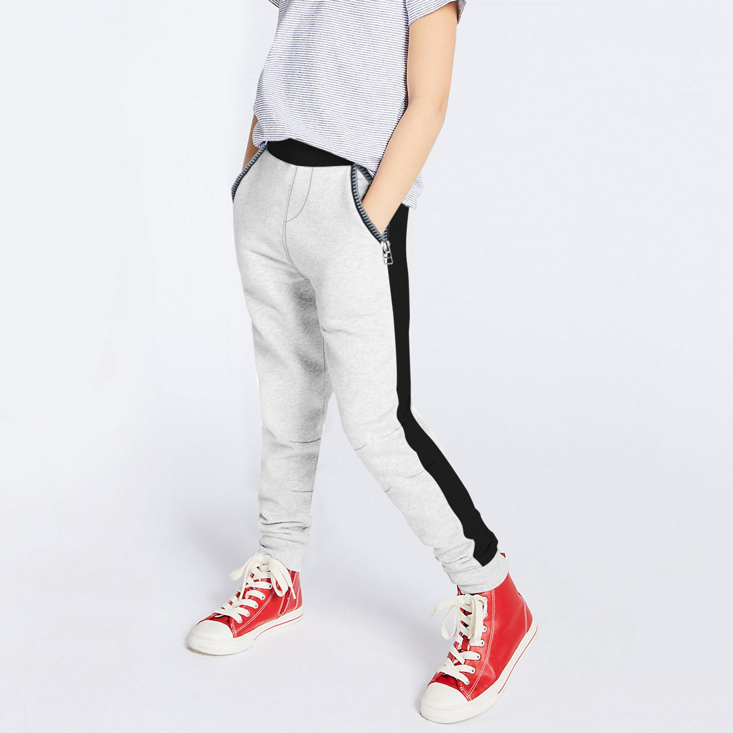 Next Fleece Jogger Trouser For Kids-Off White Melange with Black Panel-BE10011