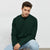 Next Fleece Raglan Sleeve Sweatshirt For Men-Dark Green-BE6251