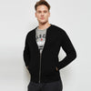 NYC Terry Fleece Raglan Sleeve Zipper Baseball Jacket For Men-Black-BE6982