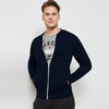 Next Fleece Raglan Sleeve Zipper Baseball Jacket For Men-Dark Navy-BE6983