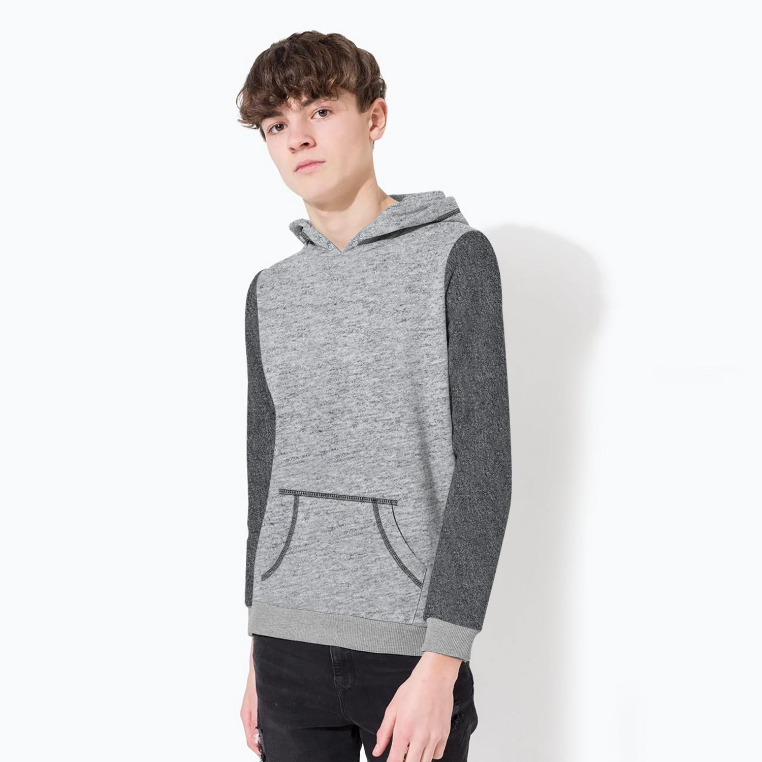 Next Fleece Stylish Pullover Hoodie For Kids-Grey & Charcoal Melange-BE10098