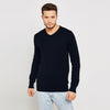 Next Fleece V Neck Sweatshirt For Men-Dark Navy-BE6244