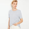 Next Half Sleeve Stylish Crew Neck Tee Shirt For Women-Grey Melange-SP028