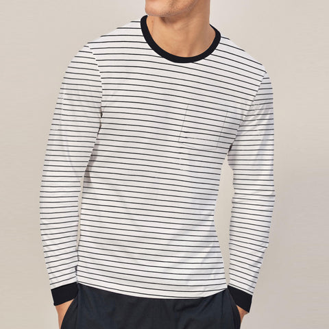 Next-Long Sleeve-Shirt-For-Men-White with Black Stripe-BE4819