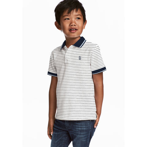 NEXT P.Q Polo Shirt For Kids-White & Dark Navy Stripes-BE5510