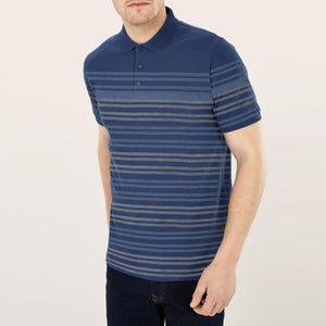 NEXT P.Q Polo Shirt For Men-Blue with Stripe-BE5063