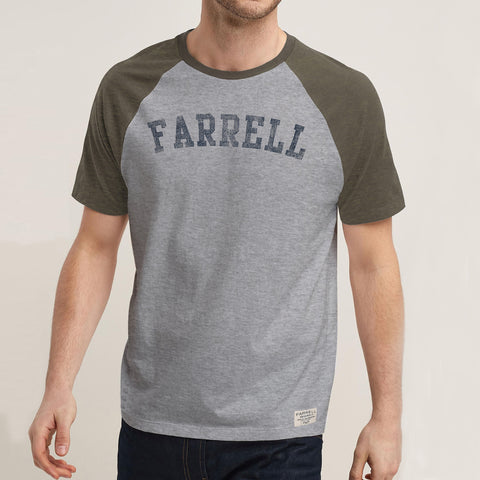 Farrell-Crew-Neck-Raglan-Sleeve-T-Shirt-For-Men-Cut Label-Grey & Olive Melange-BE4809