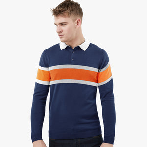 Next Rugby Polo for Men-Blue with Stripe-SA006