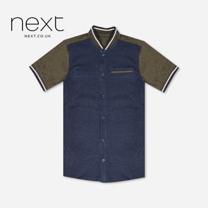 NEXT Single Jersey Button Down T Shirt For Boys-Dark Navy & Olive Green-NA1278
