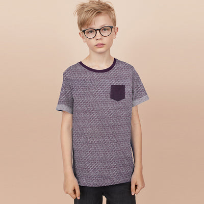 brandsego - Next Single Jersey Crew Neck Pocket Style Tee Shirt For Kids-Maroon Melange-BE9082