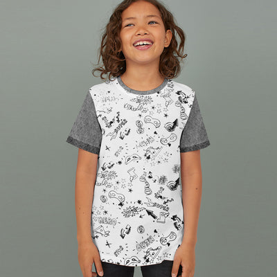 brandsego - Next Single Jersey Crew Neck Tee Shirt For Kids-White with Allover Print-BE9059