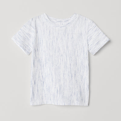 brandsego - Next Single Jersey Crew Neck Pocket Style Tee Shirt For Kids-White with Melange-BE9057