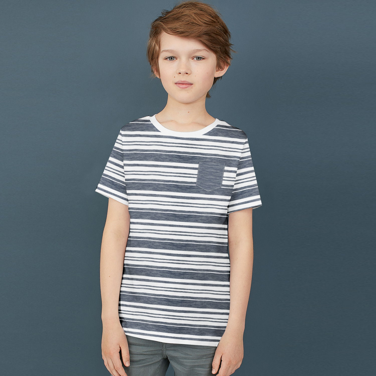 Next Single Jersey Crew Neck Pocket Style Tee Shirt For Kids-White with Melange-BE9097