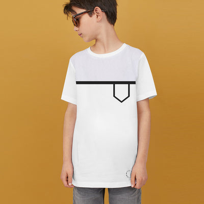 brandsego - Next Single Jersey Crew Neck Tee Shirt For Kids-White with Panel-BE9064