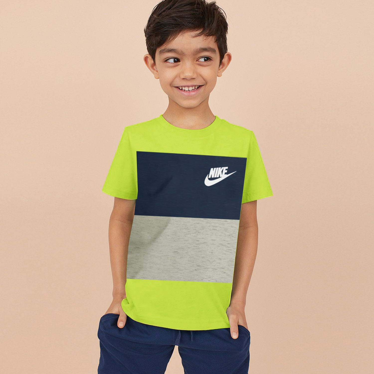 NK Crew Neck Single Jersey Short Sleeve Tee Shirt For Boys-Lime Green with Dark Navy & Grey Melange Panels-SP1962