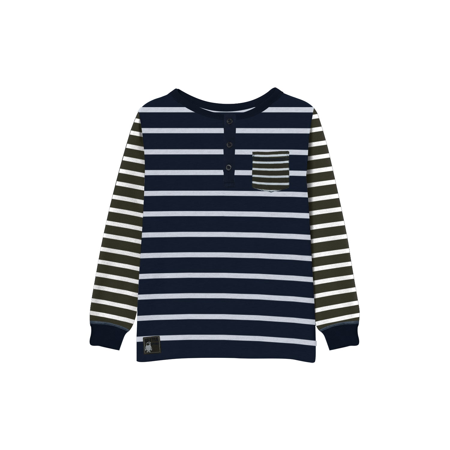 NEXT Single Jersey Henley Long Sleeve Shirt For Kids-Navy & Olive with Stripe-BE9377