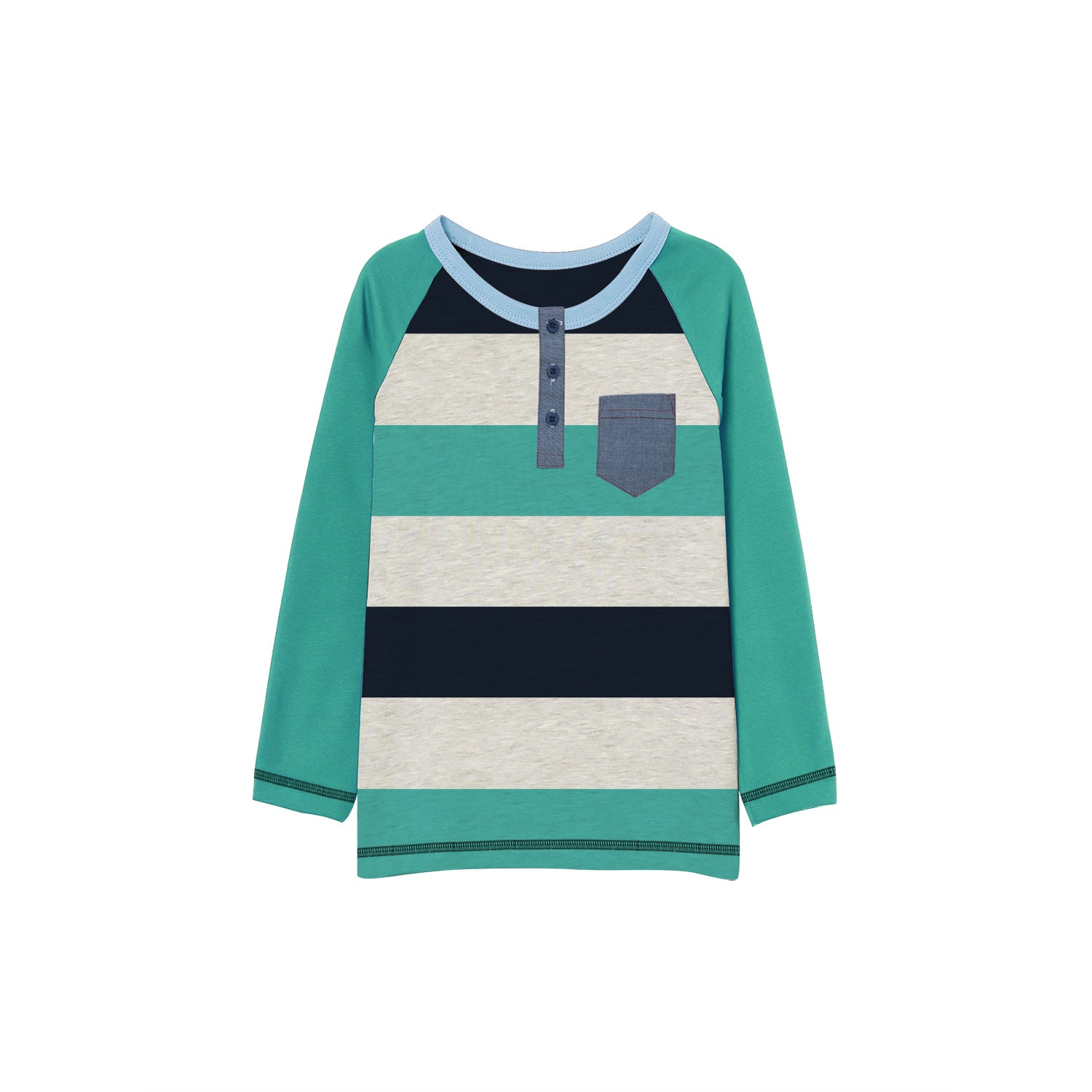 NEXT Single Jersey Henley Long Sleeve Shirt For Kids-Striped-BE9361