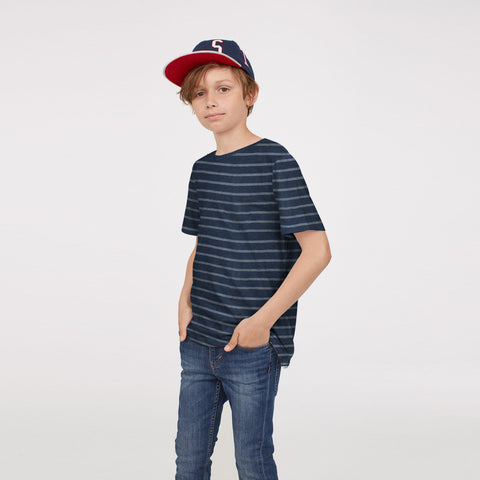 Next Single Jersey Henley Shirt For Kids-Navy & White Melange-BE5511