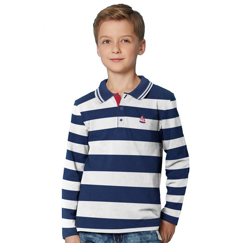 Next Single Jersey Long Sleeve Polo Shirt For Kids-Dark Blue & White Stripe-BE5110