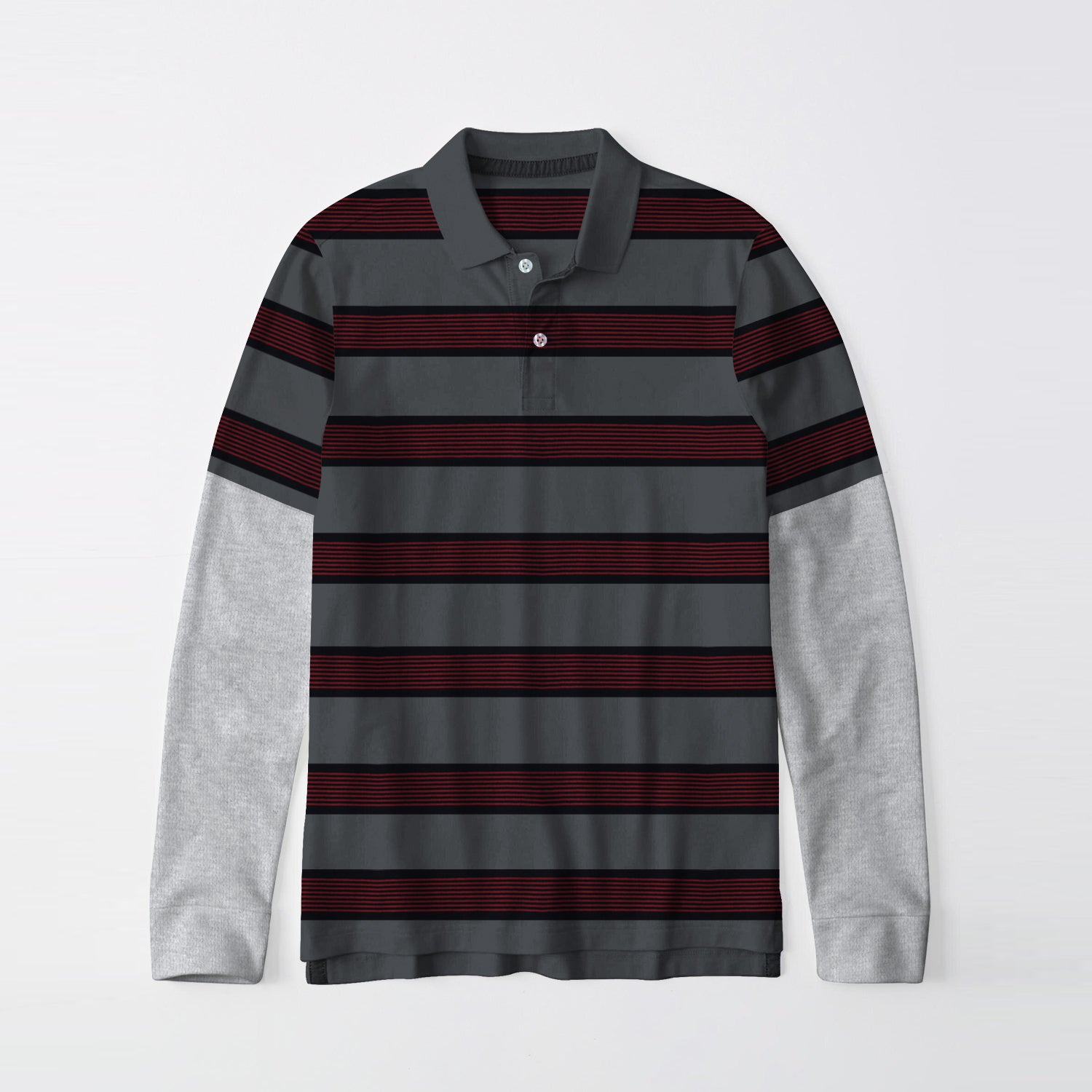 Next Single Jersey Long Sleeve Polo Shirt For Men-Dark Grey with Black & Red Stripe-BE9401