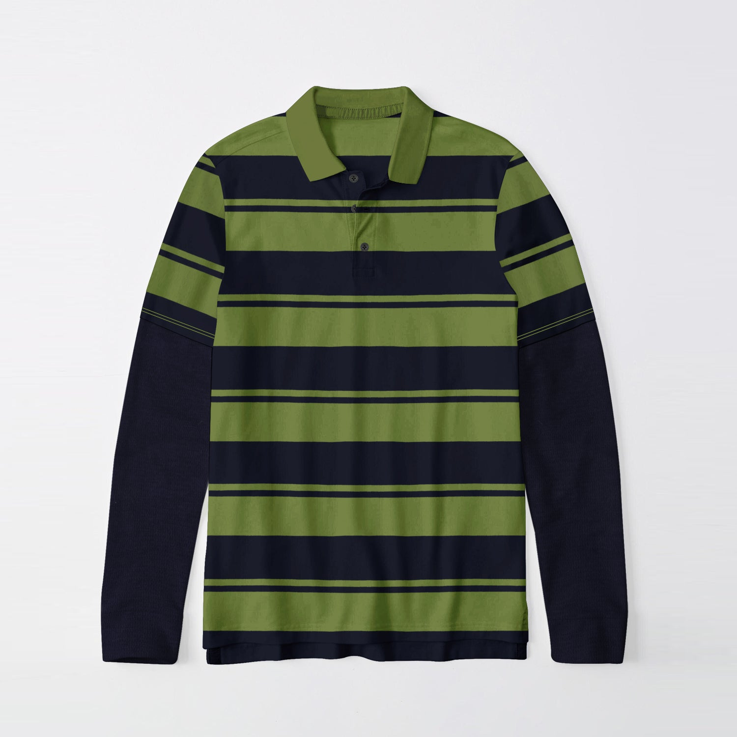 Next Single Jersey Long Sleeve Polo Shirt For Men-Dark Navy & Green Stripe-BE9396