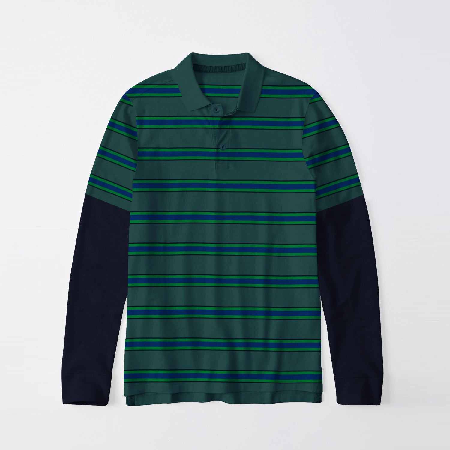 Next Single Jersey Long Sleeve Polo Shirt For Men-Green with Stripe-BE9402