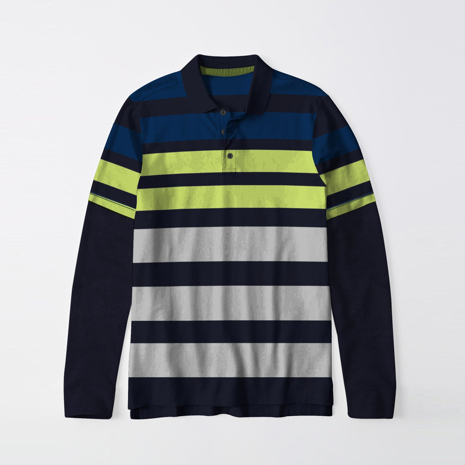 Next Single Jersey Long Sleeve Polo Shirt For Men-Navy with Grey & Green Stripe-BE9400