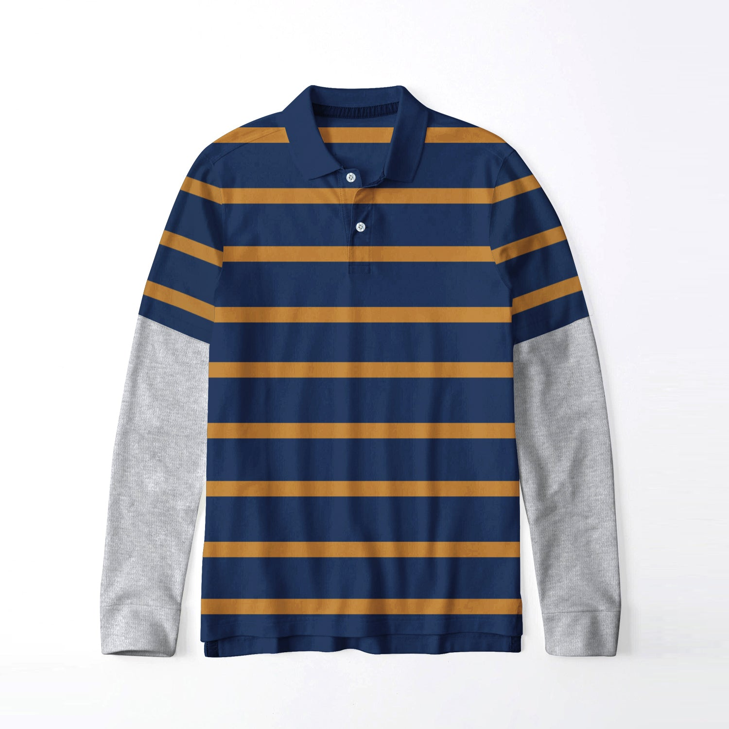 Next Single Jersey Long Sleeve Polo Shirt For Men-Navy & Yellow Stripe-BE9399