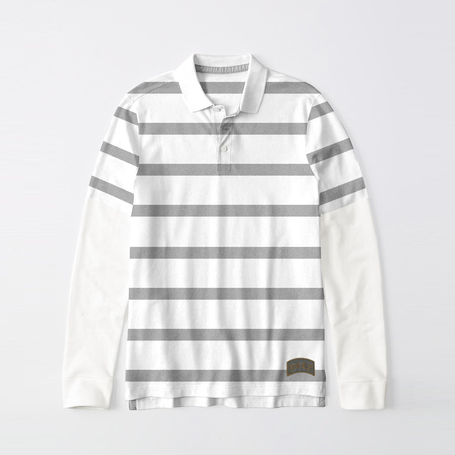 Next Single Jersey Long Sleeve Polo Shirt For Men-Off White & Dark Grey Stripe-BE9395