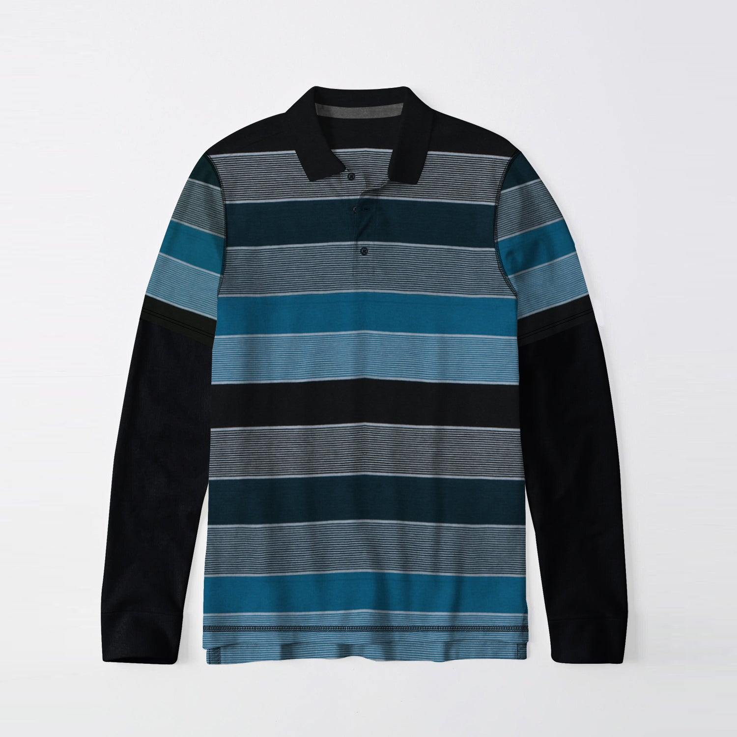 Next Single Jersey Long Sleeve Polo Shirt For Men-Striped-BE9398