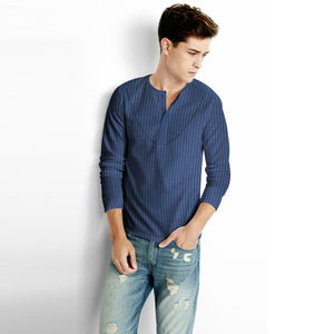 NEXT Single Jersey Long Sleeve Shirt For Men-Navy Stripe-BE5488