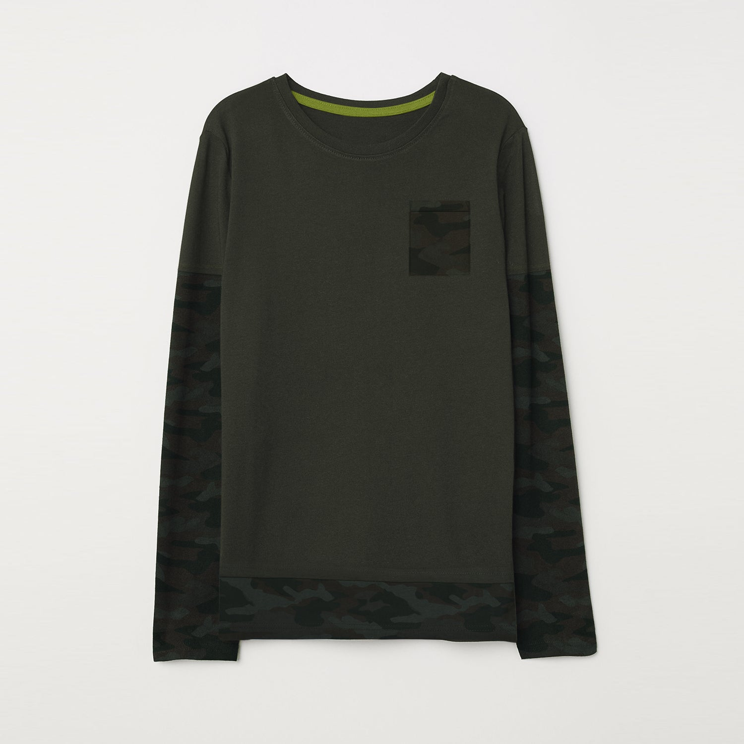 NEXT Single Jersey Long Sleeve Tee Shirt For Kids-Dark Olive with Camouflage-BE9345