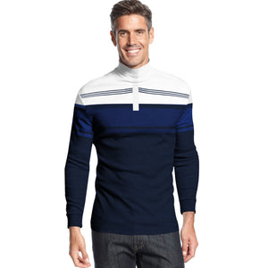 NEXT Single Jersey Mock Neck Shirt For Men-Dark Navy & White-BE5486