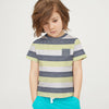 Next Single Jersey Pocket Style Tee Shirt For Kids-Parrot White & Navy Stripe-BE5247