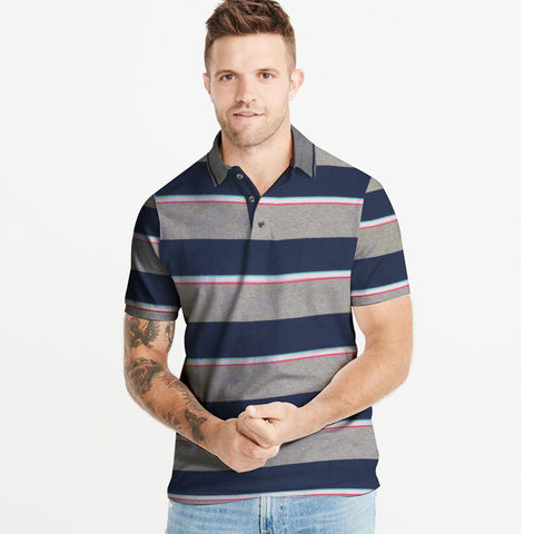 NEXT-Single Jersey-Polo-Shirt-For-Grey & Navy Melange-BE4812