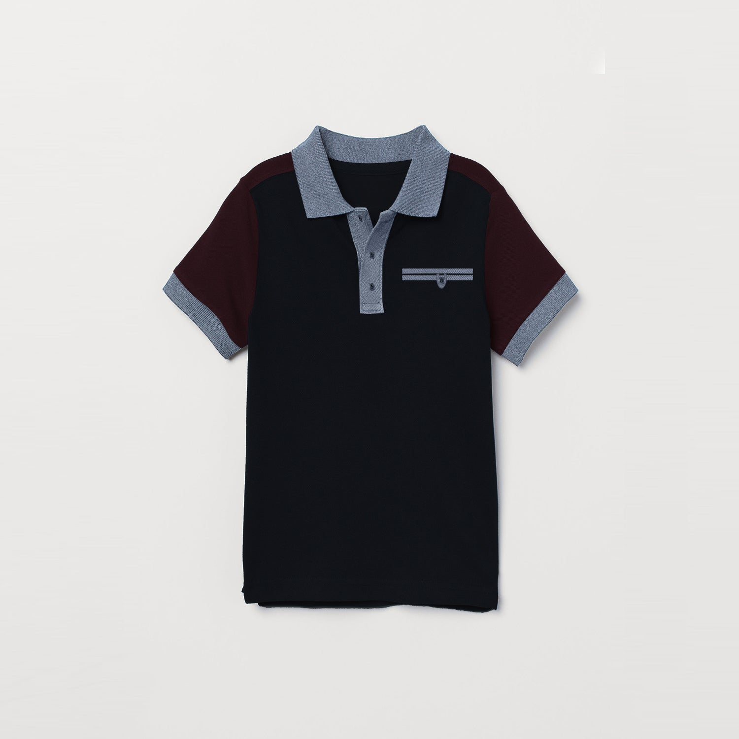 NEXT Single Jersey Polo Shirt For Kids-Black& Maroon-BE9359