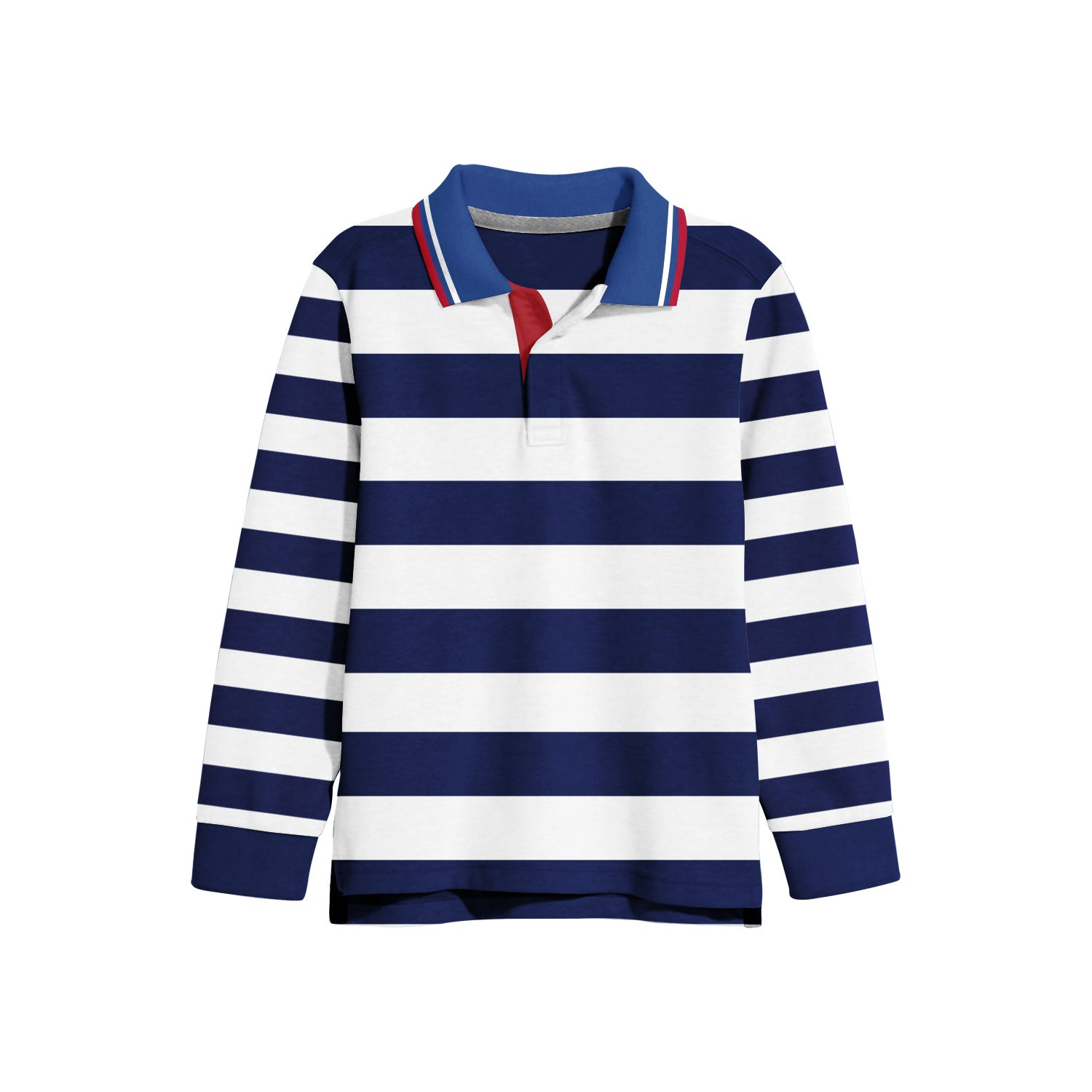 NEXT Single Jersey Polo Shirt For Kids-Navy with White Stripe-BE9360