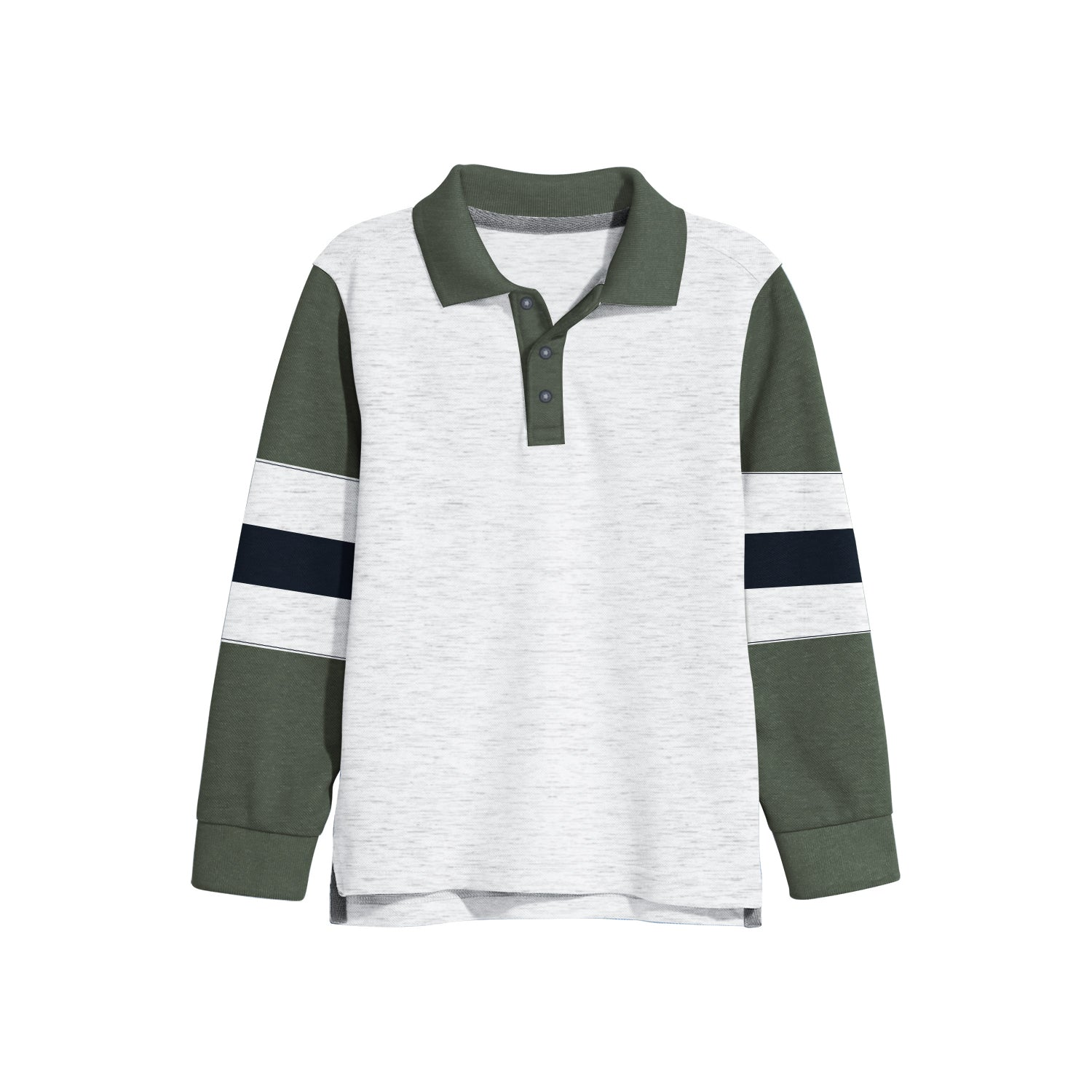 NEXT Single Jersey Polo Shirt For Kids-White Melange & Olive-BE9348